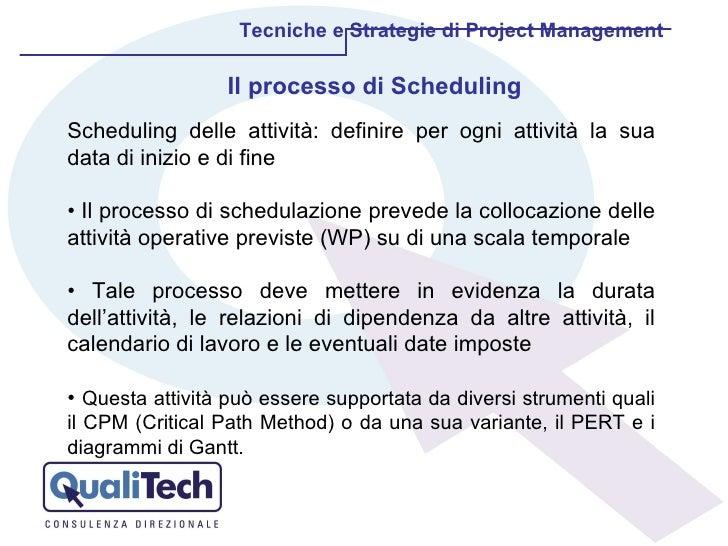Il processo di Scheduling Tecniche e Strategie di Project Management Scheduling delle attività: definire per ogni attività...