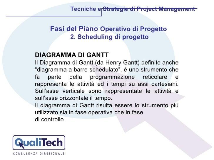 Tecniche e Strategie di Project Management Fasi del Piano  Operativo di Progetto  2. Scheduling di progetto DIAGRAMMA DI G...