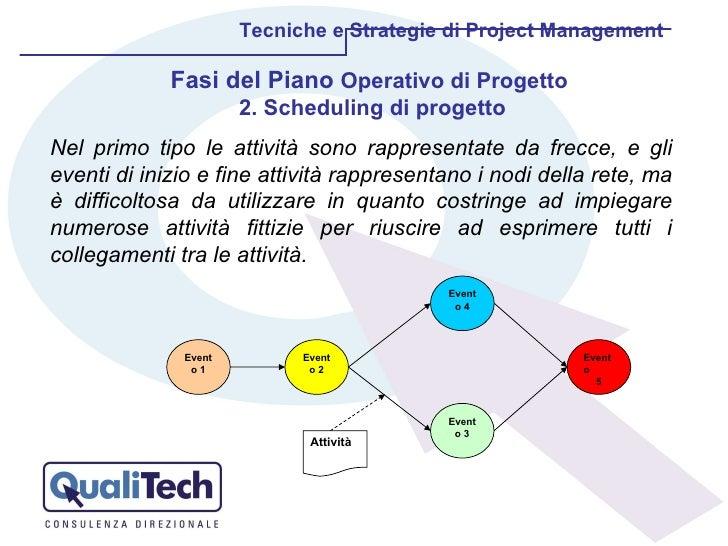 Tecniche e Strategie di Project Management Nel primo tipo le attività sono rappresentate da frecce, e gli eventi di inizio...