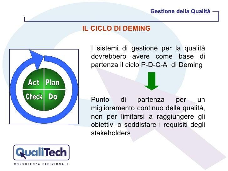 Gestione della Qualità Gestione della Qualità I sistemi di gestione per la qualità dovrebbero avere come base di partenza ...