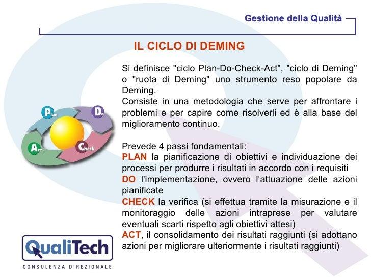 """Gestione della Qualità Gestione della Qualità IL CICLO DI DEMING Si definisce """"ciclo Plan-Do-Check-Act"""", """"c..."""