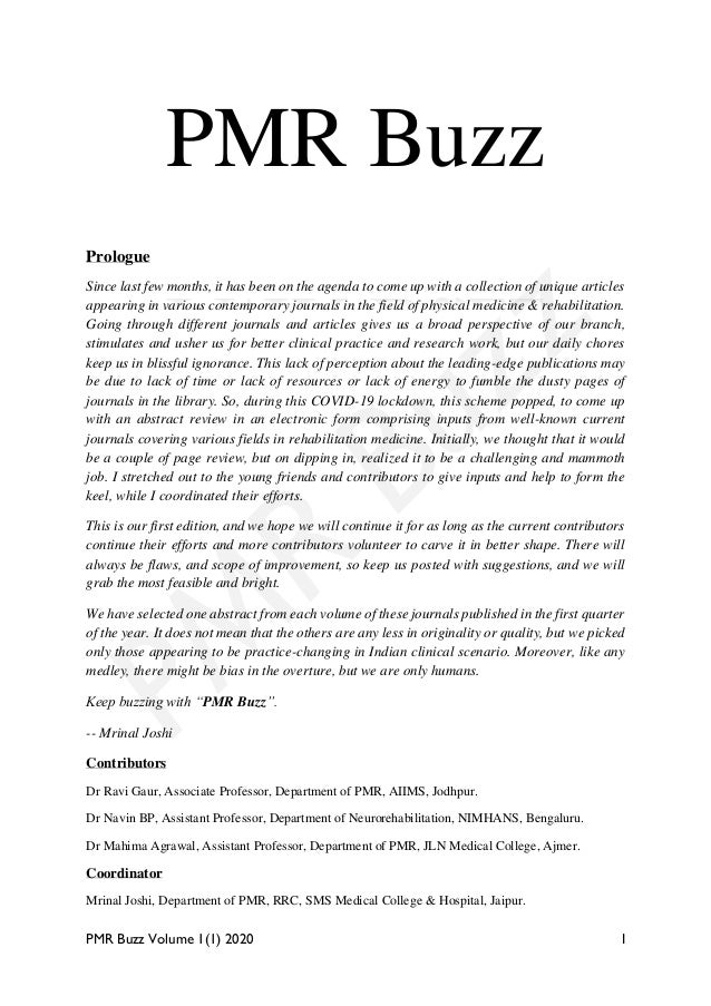 PMR Buzz Volume 1(1) 2020 I PMR Buzz Prologue Since last few months, it has been on the agenda to come up with a collectio...