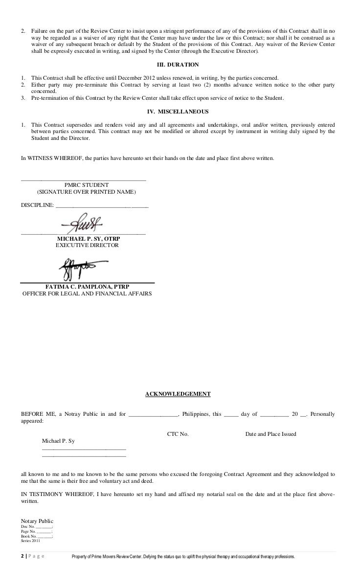 Pmrc student agreement contract 1 – Student Agreement Contract