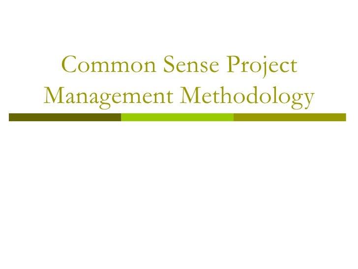 Common Sense Project Management Methodology