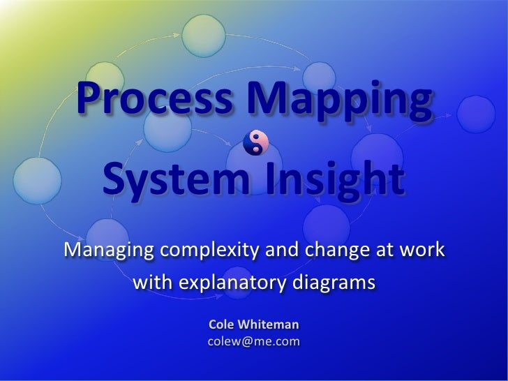 Process Mapping<br />System Insight<br />Managing complexity and change at work<br />with explanatory diagrams<br />Cole W...