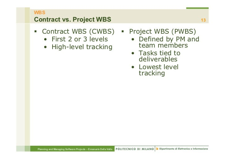 WBSContract vs. Project WBS                                                                     13§ Contract WBS (CWBS) ...