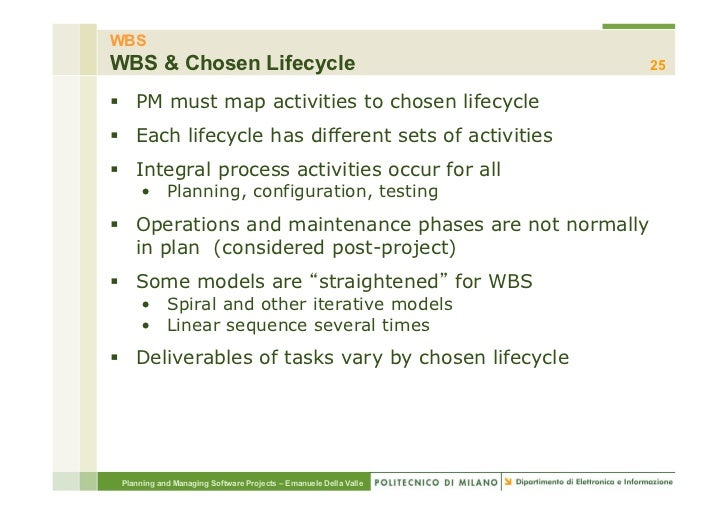 WBSWBS & Chosen Lifecycle                                            25§ PM must map activities to chosen lifecycle§ E...