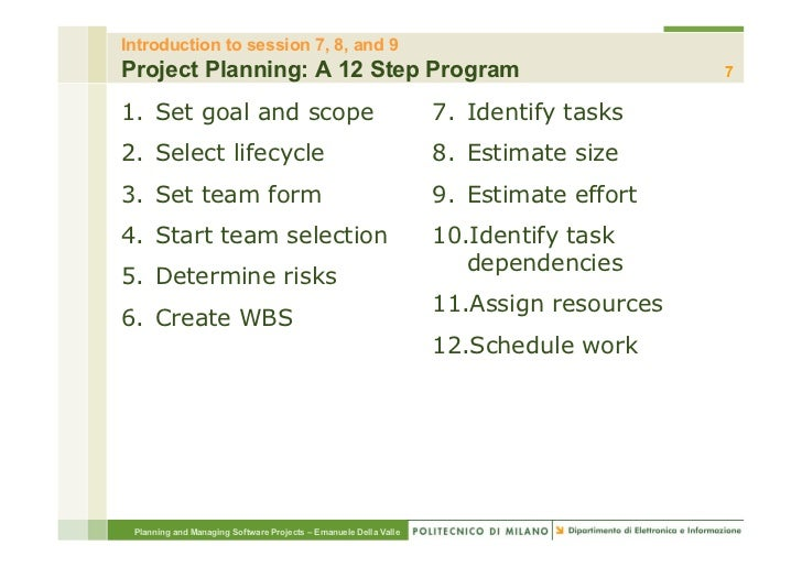 Introduction to session 7, 8, and 9Project Planning: A 12 Step Program                                                    ...