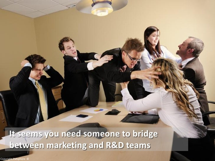 It seems you need someone to bridge       between marketing and R&D teams Copyright PMsphere ©