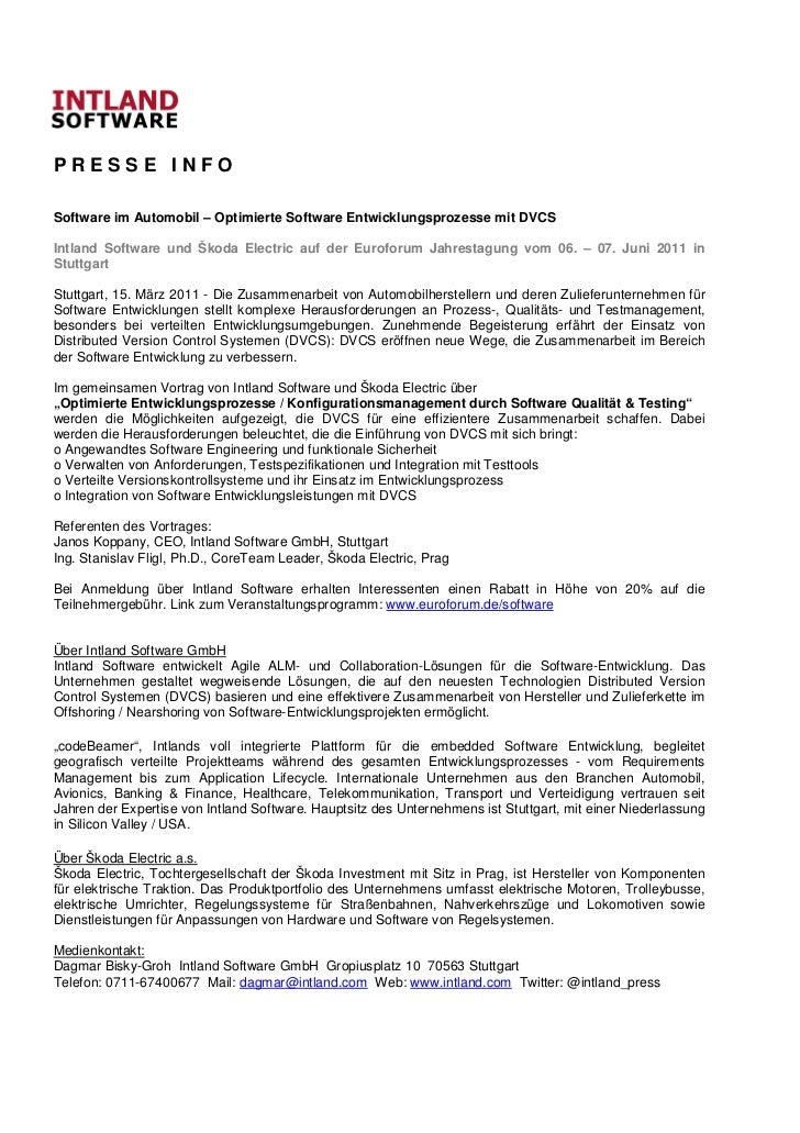 PRESSE INFOSoftware im Automobil – Optimierte Software Entwicklungsprozesse mit DVCSIntland Software und Škoda Electric au...