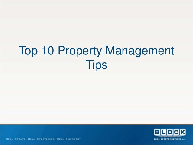 Top 10 Property Management           Tips