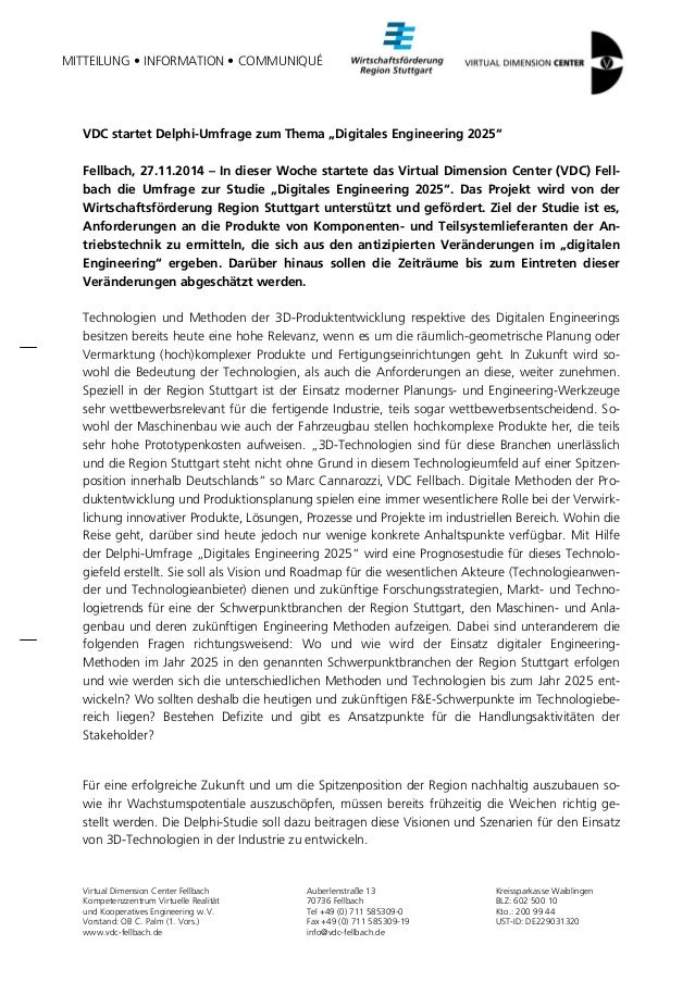 """MITTEILUNG • INFORMATION • COMMUNIQUÉ  VDC startet Delphi-Umfrage zum Thema """"Digitales Engineering 2025""""  Fellbach, 27.11...."""