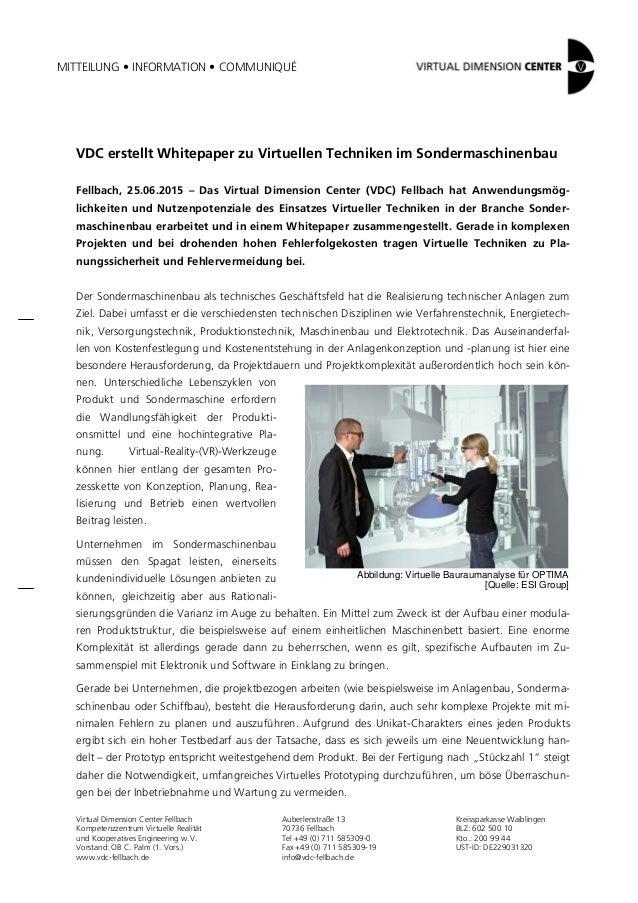 MITTEILUNG • INFORMATION • COMMUNIQUÉ Virtual Dimension Center Fellbach Kompetenzzentrum Virtuelle Realität und Kooperativ...