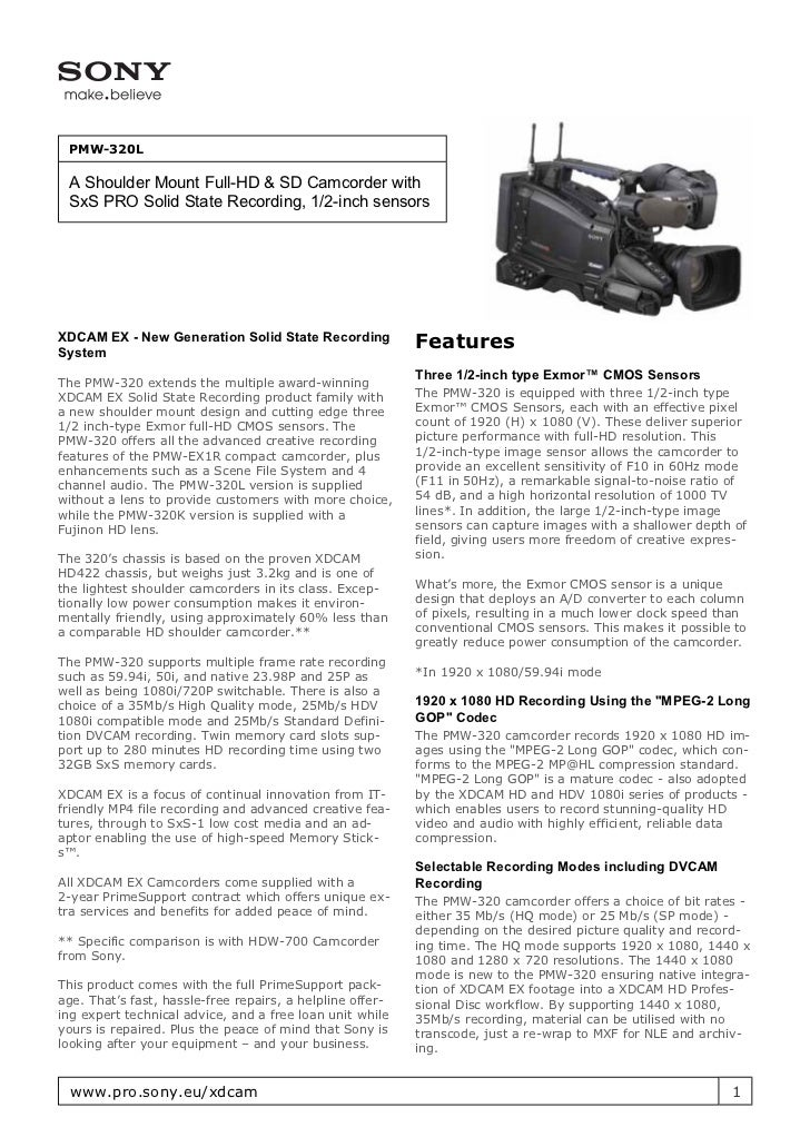 PMW-320L A Shoulder Mount Full-HD & SD Camcorder with SxS PRO Solid State Recording, 1/2-inch sensorsXDCAM EX - New Genera...