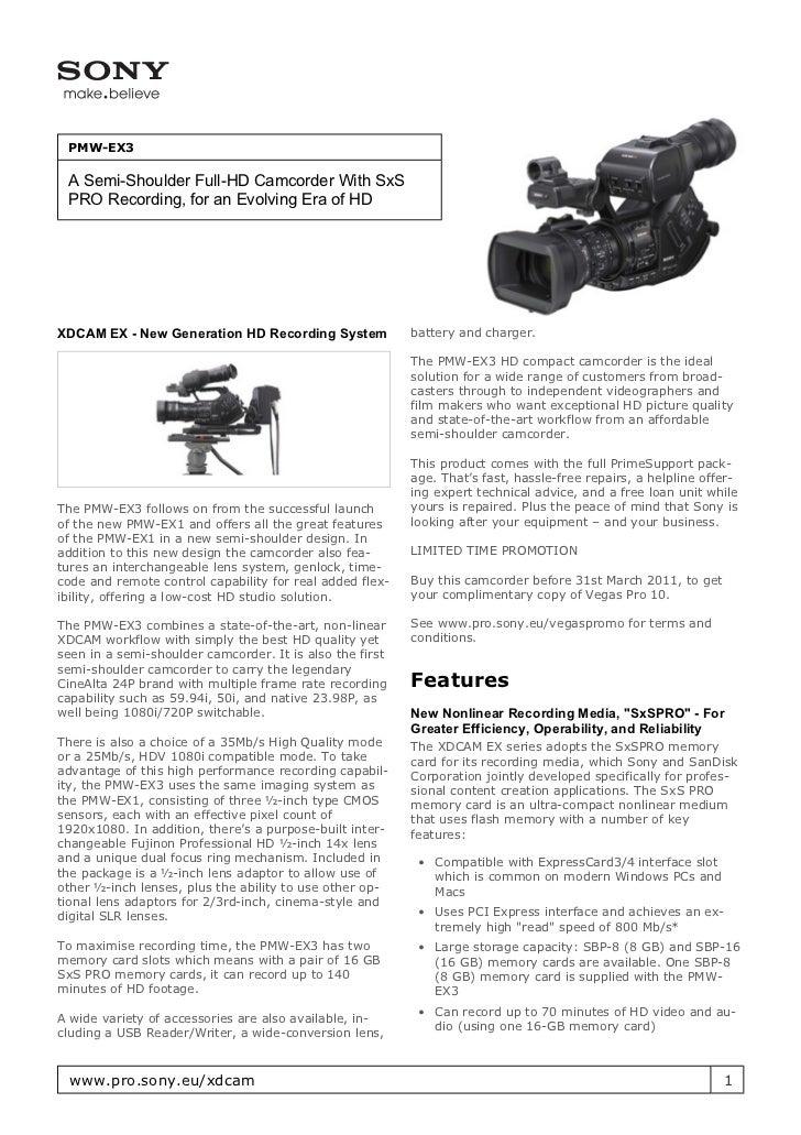 sony pmw ex3 manual rh slideshare net Sony EX3 Workflow Used Sony EX3