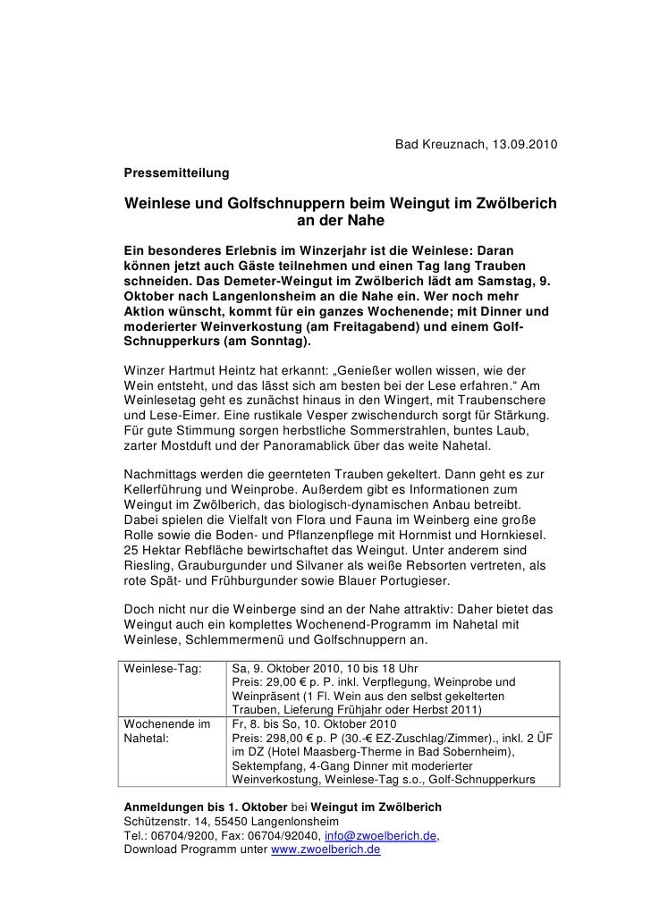 Bad Kreuznach, 13.09.2010PressemitteilungWeinlese und Golfschnuppern beim Weingut im Zwölberich                     an der...