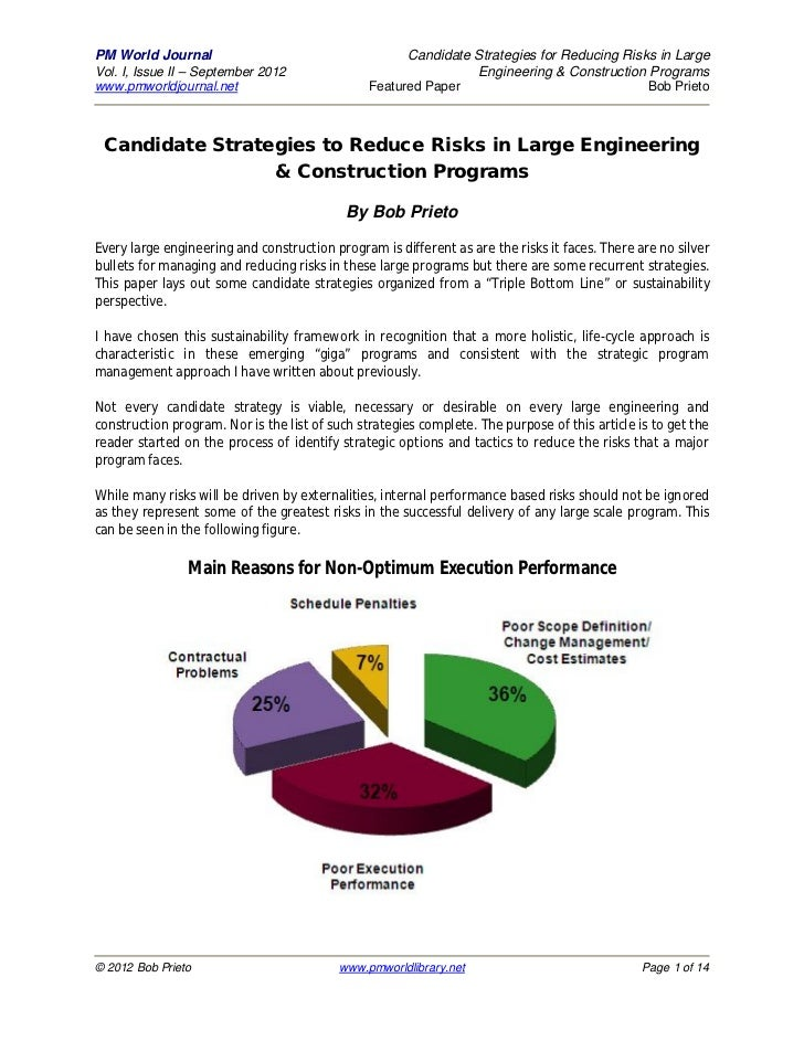 PM World Journal                                      Candidate Strategies for Reducing Risks in LargeVol. I, Issue II – S...