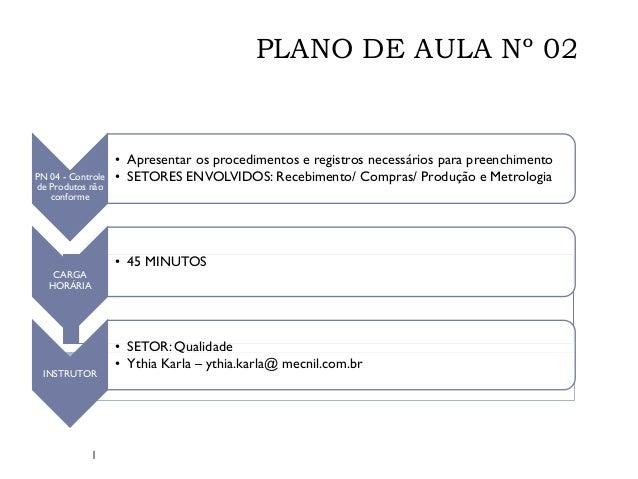 PLANO DE AULA Nº 02  PN 04 - Controle de Produtos não conforme  • Apresentar os procedimentos e registros necessários para...