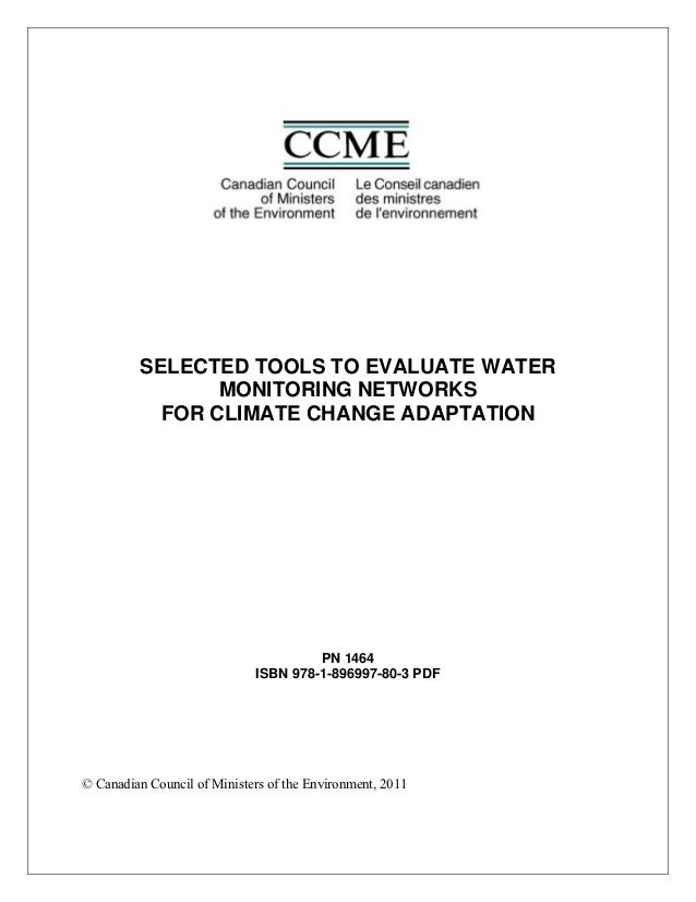 SELECTED TOOLS TO EVALUATE WATER                MONITORING NETWORKS           FOR CLIMATE CHANGE ADAPTATION               ...