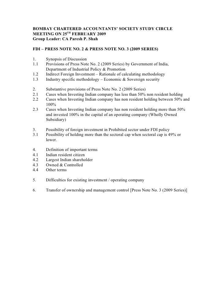 BOMBAY CHARTERED ACCOUNTANTS' SOCIETY STUDY CIRCLE MEETING ON 25TH FEBRUARY 2009 Group Leader: CA Paresh P. Shah  FDI – PR...