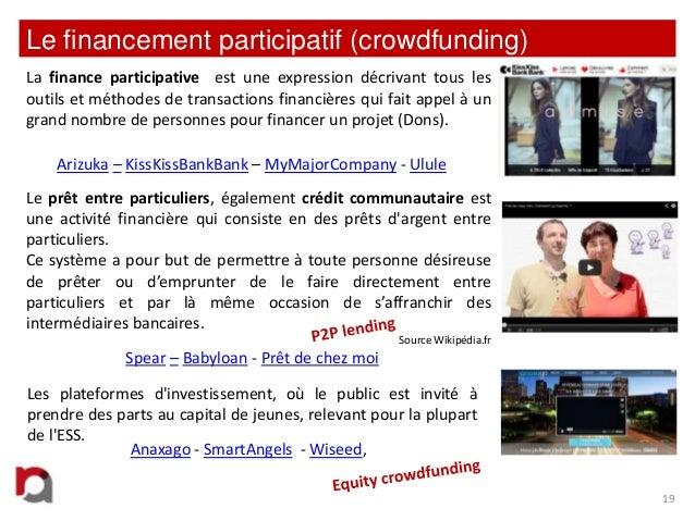 Le financement participatif (crowdfunding) La finance participative est une expression décrivant tous les outils et méthod...