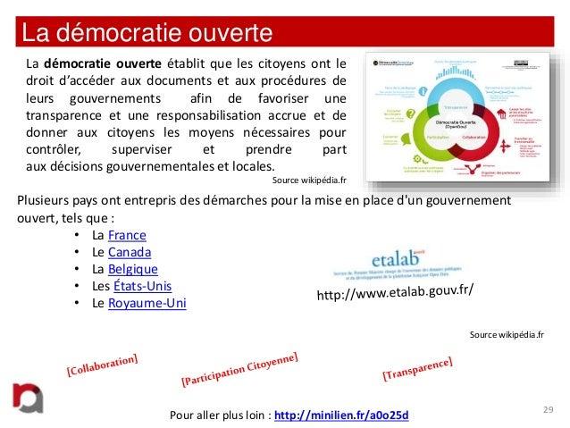 La démocratie ouverte La démocratie ouverte établit que les citoyens ont le droit d'accéder aux documents et aux procédure...