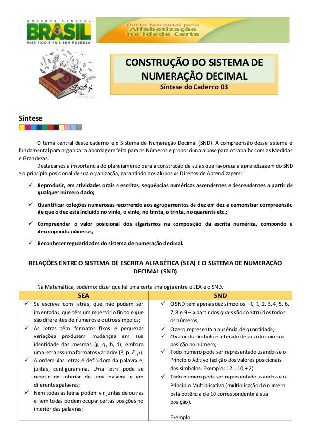 Síntese O tema central deste caderno é o Sistema de Numeração Decimal (SND). A compreensão desse sistema é fundamental par...