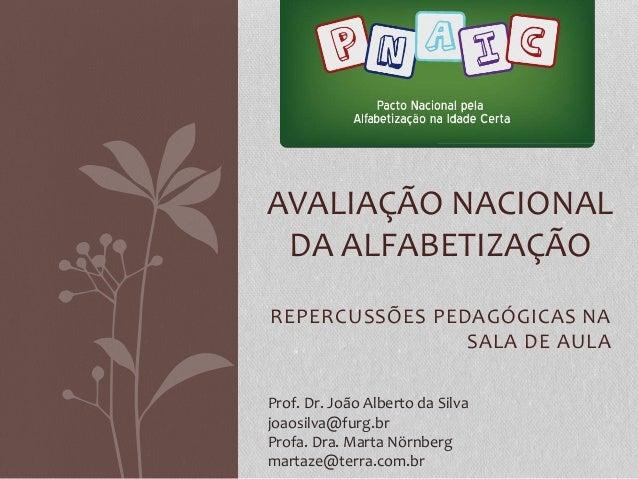 REPERCUSSÕES PEDAGÓGICAS NA SALA DE AULA AVALIAÇÃO NACIONAL DA ALFABETIZAÇÃO Prof. Dr. João Alberto da Silva joaosilva@fur...
