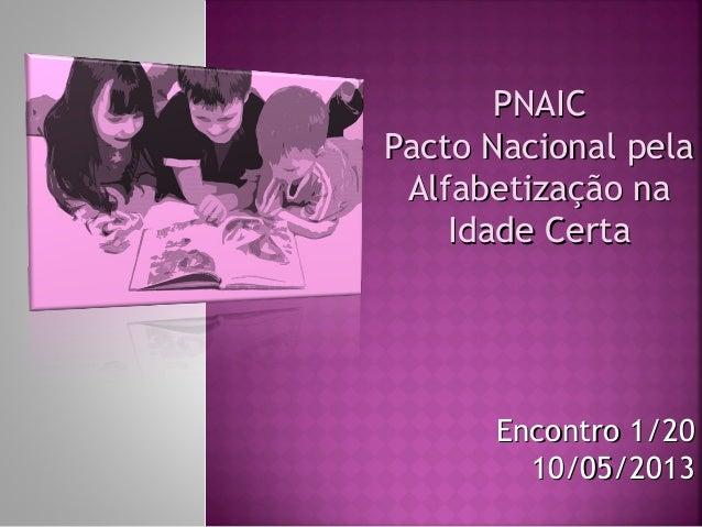 PNAICPNAICPacto Nacional pelaPacto Nacional pelaAlfabetização naAlfabetização naIdade CertaIdade CertaEncontro 1/20Encontr...