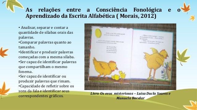 As relações entre a Consciência Fonológica e o Aprendizado da Escrita Alfabética ( Morais, 2012) Livro Os ovos misteriosos...