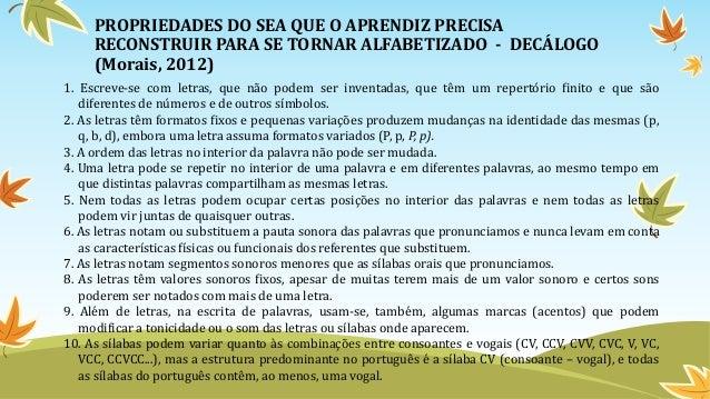 PROPRIEDADES DO SEA QUE O APRENDIZ PRECISA RECONSTRUIR PARA SE TORNAR ALFABETIZADO - DECÁLOGO (Morais, 2012) 1. Escreve-se...