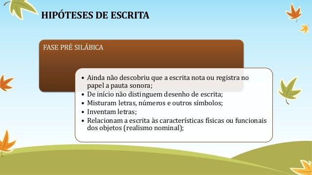 HIPÓTESES DE ESCRITA FASE PRÉ SILÁBICA • Ainda não descobriu que a escrita nota ou registra no papel a pauta sonora; • De ...