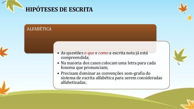 HIPÓTESES DE ESCRITA ALFABÉTICA • As questões o que e como a escrita nota já está compreendida; • Na maioria dos casos col...