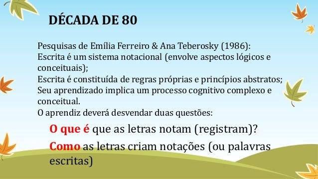 DÉCADA DE 80 Pesquisas de Emília Ferreiro & Ana Teberosky (1986): Escrita é um sistema notacional (envolve aspectos lógico...