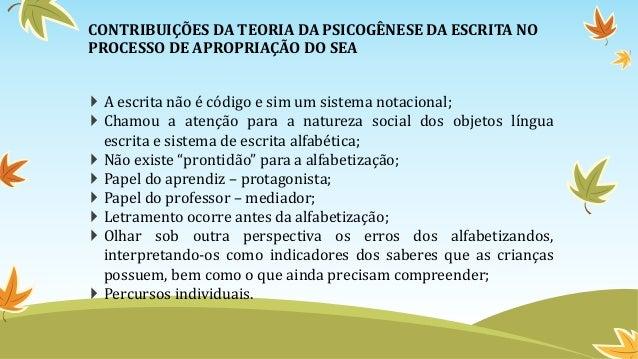 CONTRIBUIÇÕES DA TEORIA DA PSICOGÊNESE DA ESCRITA NO PROCESSO DE APROPRIAÇÃO DO SEA  A escrita não é código e sim um sist...