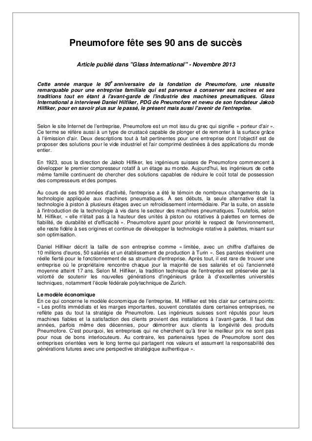 """Pneumofore fête ses 90 ans de succès Article publié dans """"Glass International"""" - Novembre 2013 e  Cette année marque le 90..."""