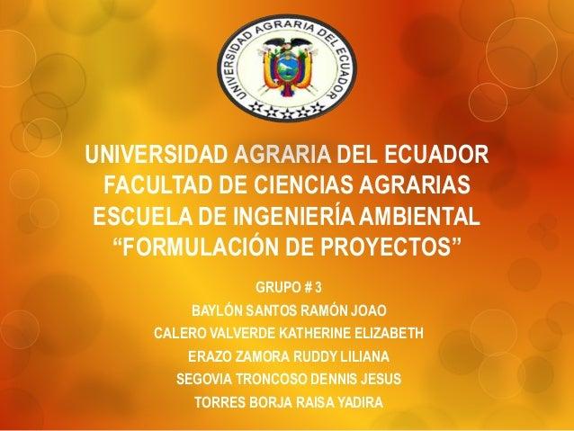 """UNIVERSIDAD AGRARIA DEL ECUADOR FACULTAD DE CIENCIAS AGRARIAS ESCUELA DE INGENIERÍA AMBIENTAL """"FORMULACIÓN DE PROYECTOS"""" G..."""