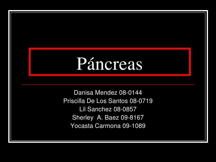 Páncreas <br />DanisaMendez 08-0144<br />Priscilla De Los Santos 08-0719<br />LilSanchez 08-0857<br />Sherley A. Baez 09-8...
