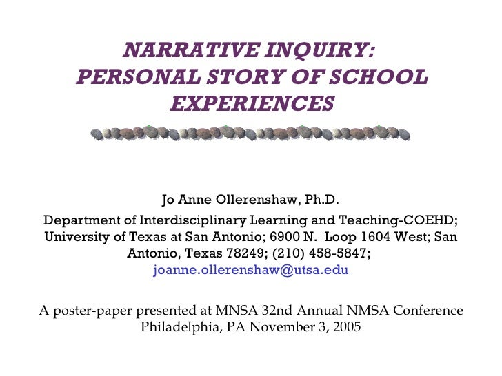 NARRATIVE INQUIRY:  PERSONAL STORY OF SCHOOL EXPERIENCES Jo Anne Ollerenshaw, Ph.D. Department of Interdisciplinary Learni...