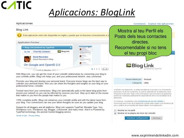 Aplicacions: BlogLink                Mostra al teu Perfil els               Posts dels teus contactes                     ...