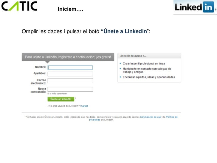 """Iniciem….Omplir les dades i pulsar el botó """"Únete a Linkedin"""":"""