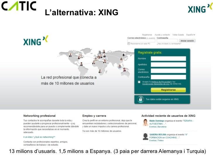L'alternativa: XING13 milions d'usuaris. 1,5 milions a Espanya. (3 paia per darrera Alemanya i Turquia)