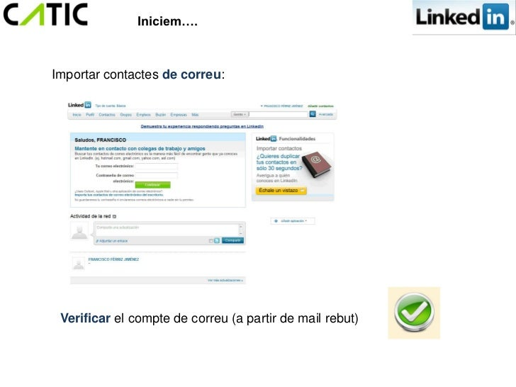 Iniciem….Importar contactes de correu: Verificar el compte de correu (a partir de mail rebut)
