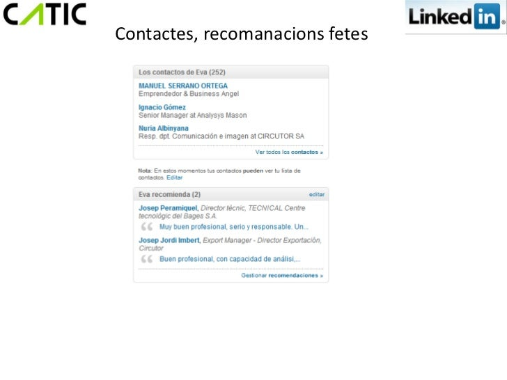 Contactes, recomanacions fetes