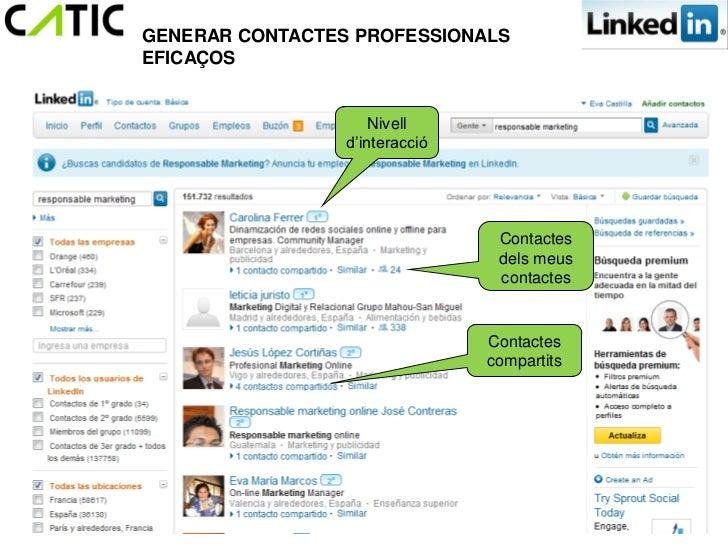 GENERAR CONTACTES PROFESSIONALSEFICAÇOS                     Nivell                 d'interacció                           ...