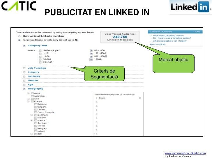 PUBLICITAT EN LINKED IN                          Mercat objetiu           Criteris de          Segmentació                ...