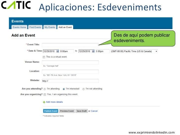 Aplicaciones: Esdeveniments                Des de aquí podem publicar                esdeveniments.                      w...