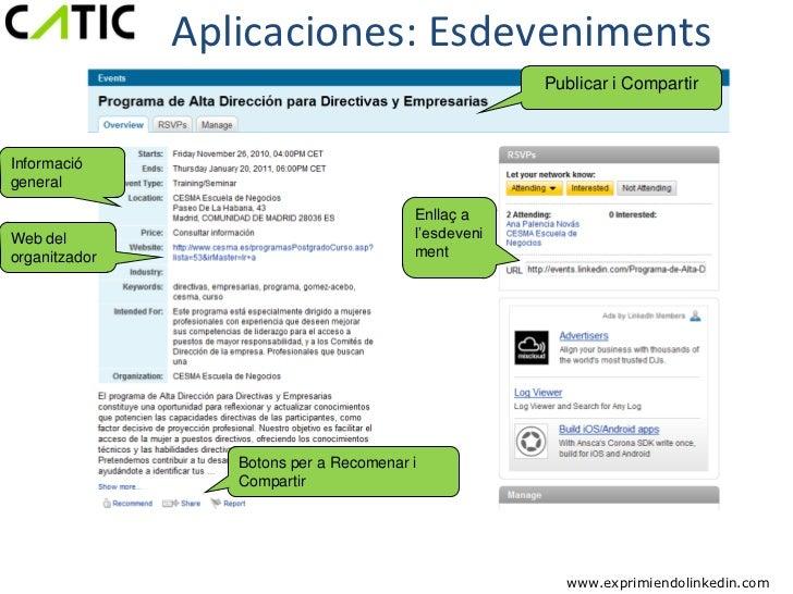 Aplicaciones: Esdeveniments                                                      Publicar i CompartirInformaciógeneral    ...