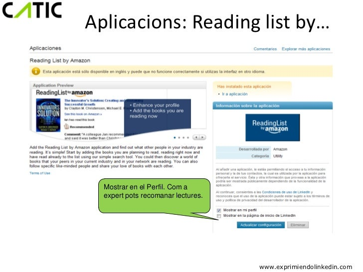 Aplicacions: Reading list by…  Mostrar en el Perfil. Com a  expert pots recomanar lectures.                               ...