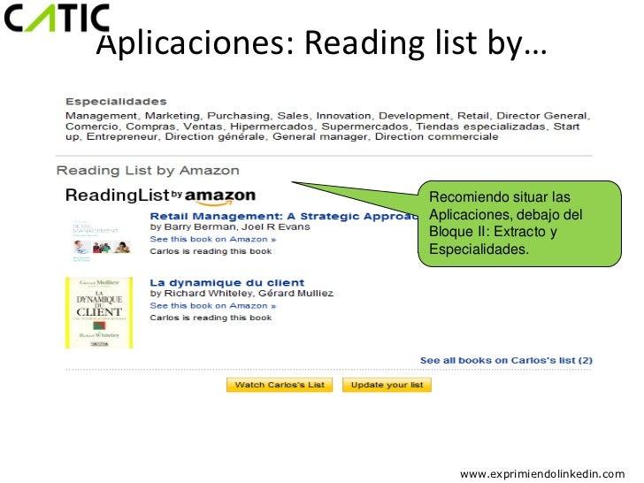 Aplicaciones: Reading list by…                      Recomiendo situar las                      Aplicaciones, debajo del   ...